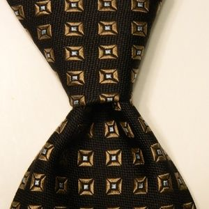 IKE BEHAR Men's Silk Necktie Geometric Black/Brown